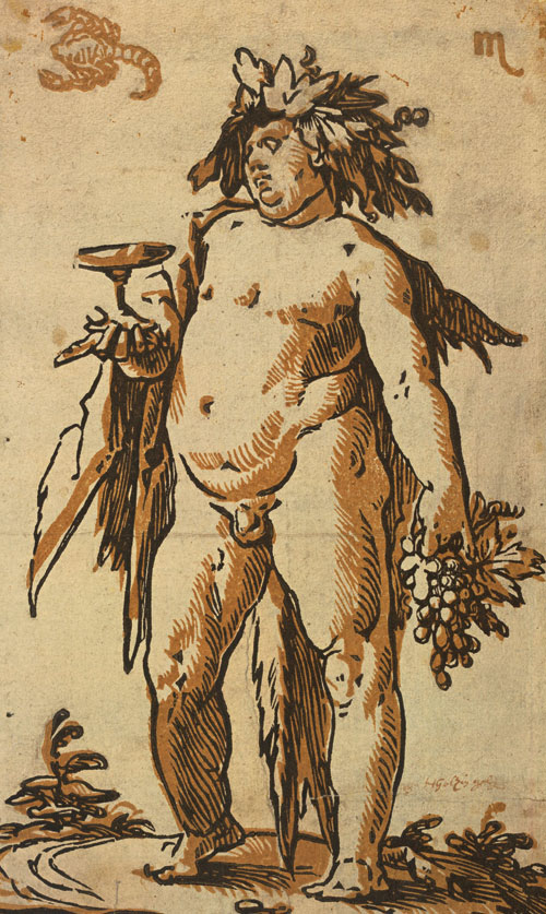 Hendrick Goltzius. Bacchus, c1589-90. Chiaroscuro woodcut printed from two blocks, the tone block in light brown, 23.8 x 14.3 cm. Collection Georg Baselitz. Photograph: Albertina, Vienna.
