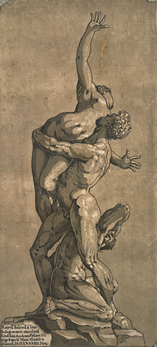 Andrea Andreani, after Giambologna. Rape of a Sabine Woman, 1584. Chiaroscuro woodcut printed from four blocks, the tone blocks in brown, 44.7 x 20.9 cm. Collection Georg Baselitz. Photograph: Albertina, Vienna.