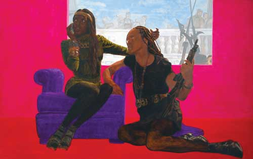 Kimathi Donkor. Drama Queen (Scenes from the life of Njinga Mbandi), 2010. Oil on linen, 160 x 100 cm. Copyright the artist.