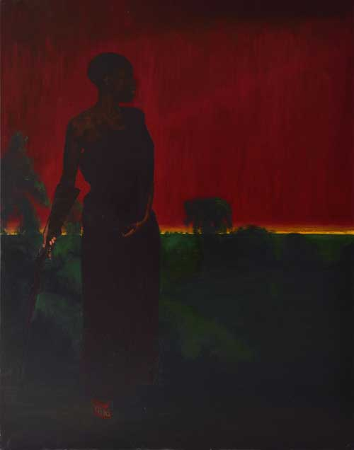 Kimathi Donkor. Yaa Asantewaa inspecting the dispositions at Ejisu, 2012. Oil on canvas 165 x 201 cm. Copyright the artist.