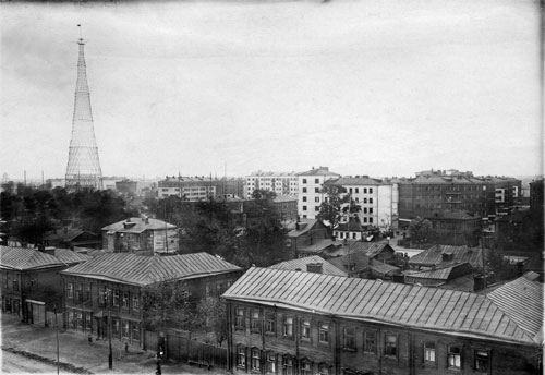 <p>Havosko-Shabolovskii residential block and Shabolovka Radio Tower viewed from Serpukhovski Val ulitsa, Moscow. Radio Tower: Vladimir Shukhov, 1922. Photographer unknown, c1935. 115 x 169 mm. Department of Photographs, Schusev State Museum of Architecture, Moscow.