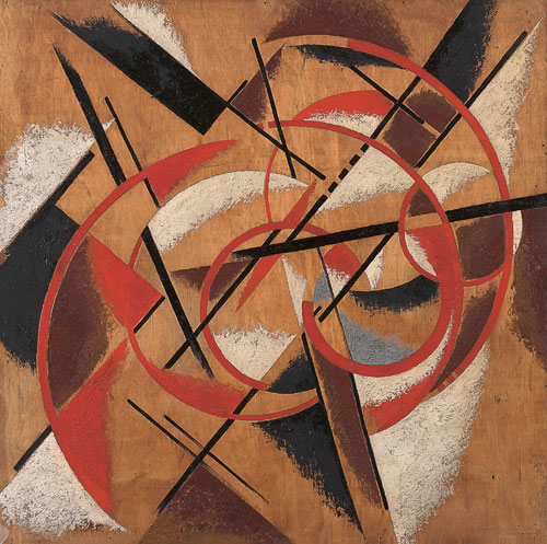 <p>Liubov Popova. <em>Spatial Force Construction</em>, 1920-21. Oil and marble dust on plywood, 112.3 x 112.5 cm. State Museum of Contemporary Art - G. Costakis Collection, Thessaloniki, Greece.