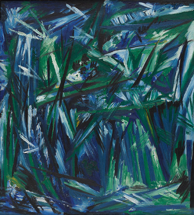 Natalia Goncharova. Rayonism, Blue-Green Forest, 1913. Oil on canvas, 21 1/2 x 19 1/2 in (54.6 x 49.5 cm). The Museum of Modern Art, New York. The Riklis Collection of McCrory Corporation.