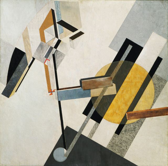 El Lissitzky. Proud 19D, 1920 or 1921. Gesso, oil, varnish, crayon, coloured papers, sandpaper, graph paper, cardboard, metallic paint, and metal foil on plywood 38 3/8 x 38 1/4 in (97.5 x 97.2 cm). The Museum of Modern Art, New York. Katherine S. Dreier Bequest.