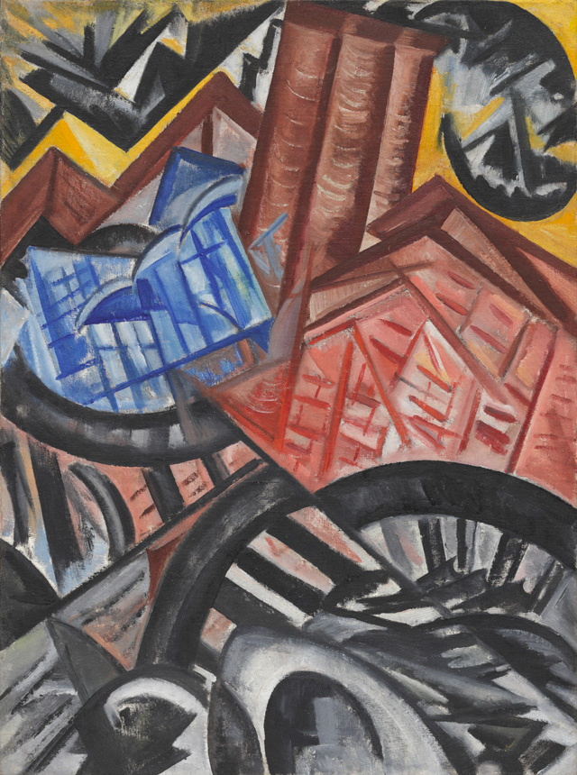 Olga Rozanova. The Factory and the Bridge, 1913. Oil on canvas, 32 3/4 x 24 1/4 in (83.2 x 61.6 cm). The Museum of Modern Art, New York. The Riklis Collection of McCrory Corporation.