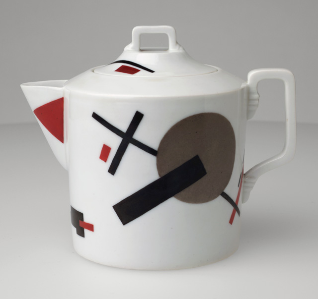 Nikolai Suetin. Teapot, c1923. Porcelain with overglaze painted decoration, 5 1/2 x 4 1/2 in (14 x 11.4 cm). The Museum of Modern Art, New York. Estée and Joseph Lauder Design Fund.