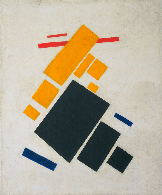Kazimir Malevich. Suprematist Composition: Airplane Flying, 1915. Oil on canvas. 22 7/8 x 19 in (58.1 x 48.3 cm). The Museum of Modern Art, New York. Acquisition confirmed in 1999 by agreement with the Estate of Kazimir Malevich and made possible with funds from the Mrs. John Hay Whitney Bequest (by exchange).