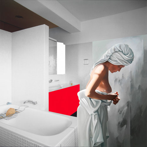 Richard Hamilton. Bathroom - fig.2 II, 2005-06. Oil on Fuji/Oce LightJet on canvas, 100 x 100 cm. © Courtesy of the Estate of Richard Hamilton.
