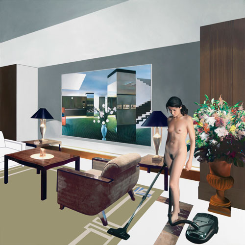 Richard Hamilton. Hotel du Rhone, 2005. Oil on Fuji/Oce LightJet on canvas, 100 x 100 cm. © Courtesy of the Estate of Richard Hamilton.