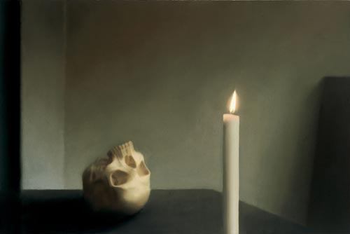 Gerhard Richter. <em>Sch&auml;del mit Kerze</em> (<em>Skull with Candle</em>), 1983. Oil on canvas, 100 x 150 cm. Weserburg &ndash; Museum f&uuml;r moderne Kunst, Bremen, Collection B&ouml;ckmann &copy; Gerhard Richter. Photo: Museum Frieder Burda, Baden-Baden