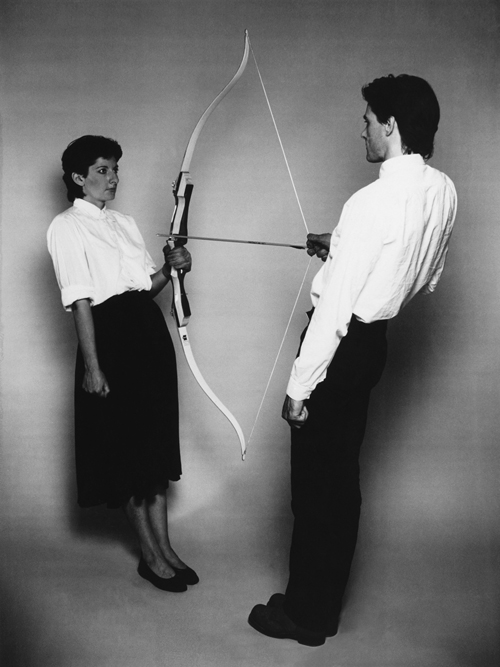 Marina Abramović and Ulay. Rest Energy, 1980. Based on the performance, 4 minutes, ROSC' 80, Dublin. © Marina Abramović and Ulay Courtesy of the Marina Abramovic Archives.