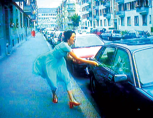 Pipilotti Rist. <em>Ever Is Over All</em>, 1997. Audio video installation (video still 2).