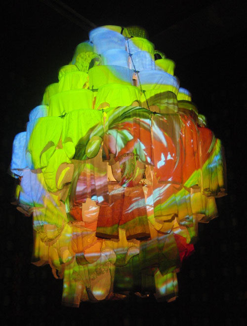 Pipilotti Rist. <em>Massachusetts Chandelier</em>, 2010. Made from underwear.