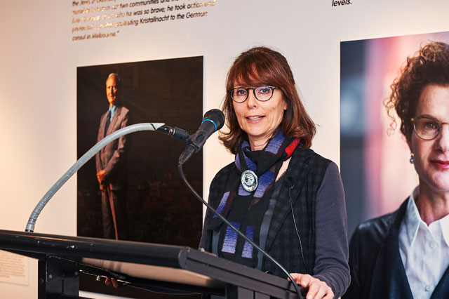 Hedy Ritterman speaking at the exhibition opening for One man in his time, Jewish Museum of Australia 2016-2017.