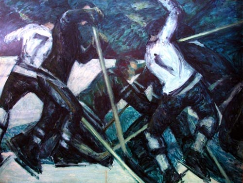 Elias Rivera.<em> The Hockey Players</em> 1963, oil on canvas, 51 x 65 in.