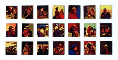 Elias Rivera.<em> Ventanas (Window</em>s<em>)</em> 2003, oil on canvas, 12 x 10 in each.