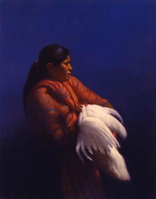 Elias Rivera.<em> The White Rooster </em>1995, oil on canvas, 48 x 36 in.