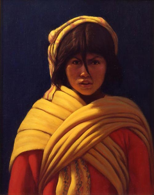 Elias Rivera.<em> The Watcher </em>2003,oil on canvas, 12 x 10 in.