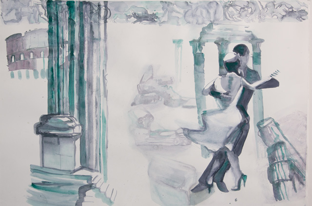Carole Robb. Tango at the Forum, 2015. Watercolour on paper, 76 x 112 cm (30 x 44 in). © the artist.