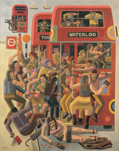 William Roberts. <em>Rush Hour</em>, 1971, oil on canvas, 122 x 96.5 cm, private collection © Estate of John David Roberts. Reproduced by permission of the William Roberts Society/The Bridgeman Art Library