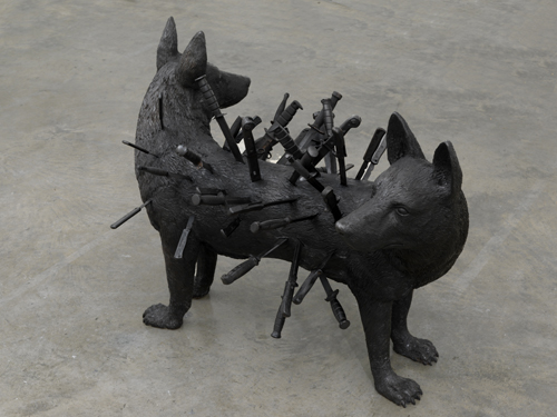 Robin Rhode. Ghost Dog 2008, Patinated bronze 34 5/8 x 48 13/16 x 31 1/2 in. (88 x 124 x 80 cm). © the artist. Photo: Todd-White Art Photography, Courtesy Jay Jopling/White Cube (London)