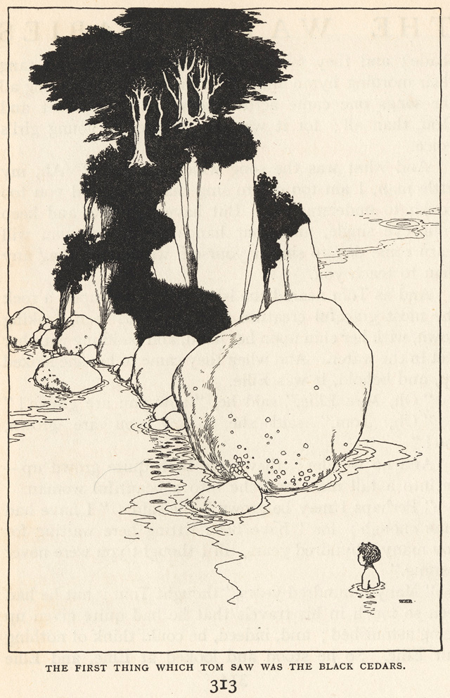 William Heath Robinson. The First Thing which Tom saw was the Black Cedars. Photolithograph after a design by William Heath Robinson for The Water-Babies: a Fairy Tale for a Land-Baby by Charles Kingsley; with illustrations by William Heath Robinson –published in London by Constable & Co., 1915 (4°), p.313, 15.0 x 10.0 cm. Photograph: © Royal Academy of Arts, London.