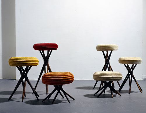 Ceci Arango (b1967). Corocora stools, 1993. Fique fibre spiral-woven over esparto fibre, macana palm wood base. Courtesy of the artist.