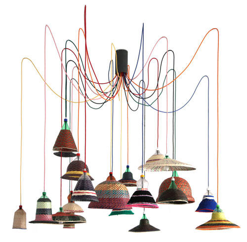 Alvaro Catalán de Ocón (b1975). PET Lamp project, 2013. Recycled plastic, metal, paja de tetera fibre, wool. Courtesy of the artist.