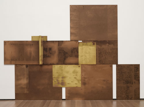 Dorothea Rockburne. Scalar, 1971. Chipboard, crude oil, paper, and nails, overall 80 x 114 ½ x 3 ½ in (203.2 x 289.5 x 8.9 cm). The Museum of Modern Art, New York. Gift of Jo Carole and Ronald S. Lauder and Estée Lauder, Inc. in honour of J. Frederic Byers III. © 2013 Dorothea Rockburne / Artists Rights Society (ARS), New York.