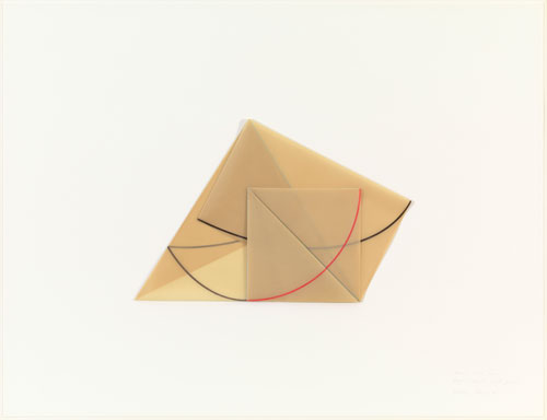 Dorothea Rockburne. Triangle, Rectangle, Small Square, 1978. Coloured pencil on transparentized paper on board, 33 x 43 in (83.8 x 109.2 cm). The Museum of Modern Art, New York. Gift of Sally and Wynn Kramarsky. © 2013 Dorothea Rockburne / Artists Rights Society (ARS), New York.