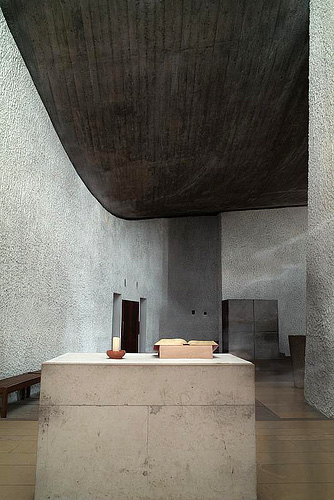 Le Corbusier. Chapel of Nôtre Dame du Haut, 1955. Interior view (2). Ronchamp, France. Photograph: © Chung.