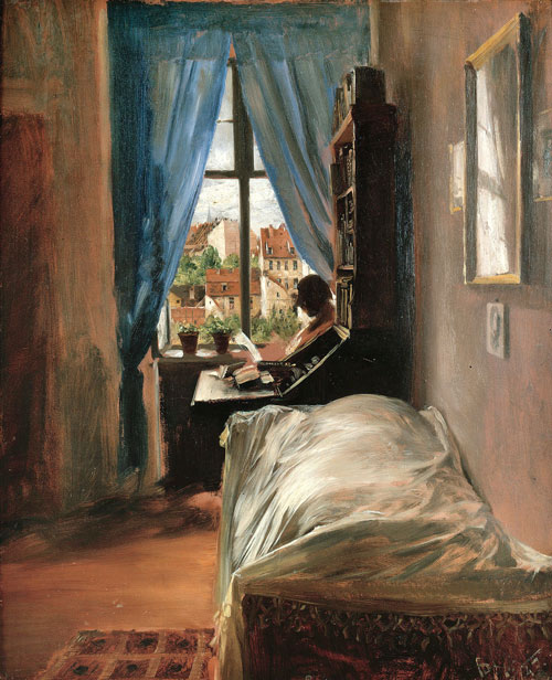 Adolph Menzel.<em> The Artist's Bedroom in Ritterstrasse</em>, 1847. Oil on cardboard, 22 x 18⅛ in. Staatliche Museen zu Berlin, Alte Nationalgalerie. Photo: Bernd Kuhnert.