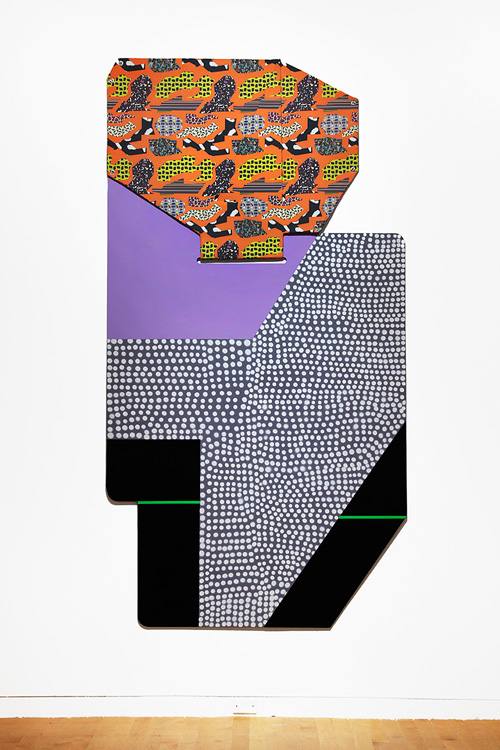 Ruth Root. Untitled, 2015. Fabric, Plexiglas, enamel paint, and spray paint, 116 x 61 in (294.6 x 154.9 cm). Courtesy of the artist and Andrew Kreps Gallery, New York. Photograph: Chad Kleitsch.