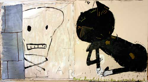 Rose Wylie. <em>Cat & Skull,</em> 2010. Oil on canvas, 183 cm x 343 cm. Image courtesy of UNION, London.