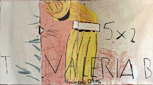 Rose Wylie. <em>5 x 2 (Film Notes),</em> 2008. Oil on canvas, 183 cm x 336 cm. Image courtesy of UNION, London.