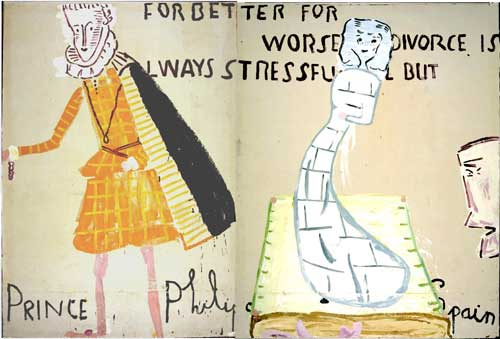 Rose Wylie. <em>Lords and Ladies,</em> 2007&ndash;9. Oil on canvas, 211 cm x 313 cm. Image courtesy of UNION, London.