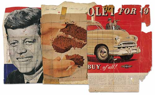 Collage for<i> President Elect</i>, 1960-61. Cropped poster, magazine 