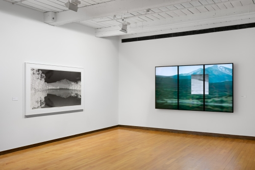 Clifford Ross. Central Exhibition Area (Mountain Redux I and three-panel Harmonium Mountain video). MASS MoCA.