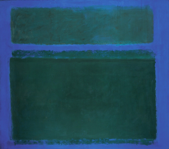 Mark Rothko. <em>No. 15, Dark Greens on Blue with Green Band</em>, 1957. Oil on canvas, 2616 x 2959 mm. Collection Christopher Rothko © 1998 Kate Rothko Prizel and Christopher Rothko/VG Bild-Kunst, Bonn 2008