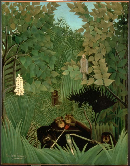 Henri Rousseau <em>The Merry Jesters</em> 1906. Oil on canvas 145.8 x 113.4 cm. Philadelphia Museum of Art.