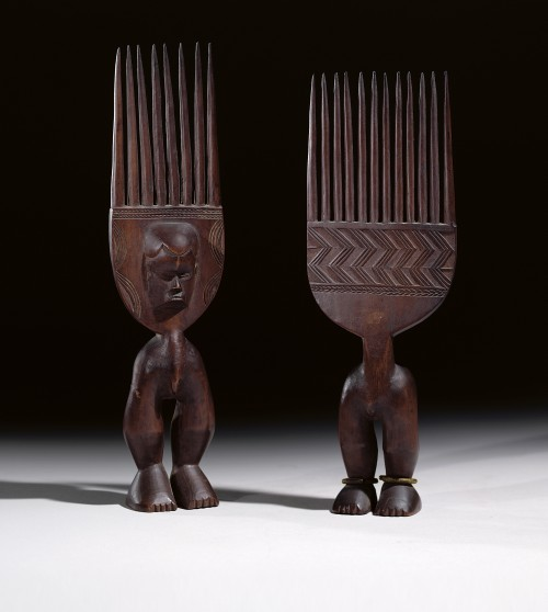 Bete or Guro male and female pair of combs, Ivory Coast, date unknown. Wood, 9 3/4 in. (24.8 cm) high each. Private Collection, New York