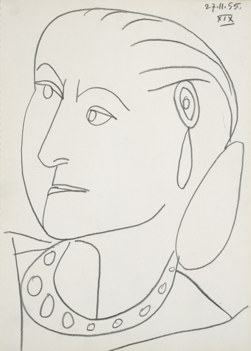 Pablo Picasso. Portrait of Helena Rubinstein XIX 27-11-1955, 1955. Conté crayon on paper, 17 1/4 x 12 5/8 in (43.8 x 32.1 cm). Himeji City Museum of Art, Japan. © 2014 Estate of Pablo Picasso / Artist Rights Society (ARS), New York.