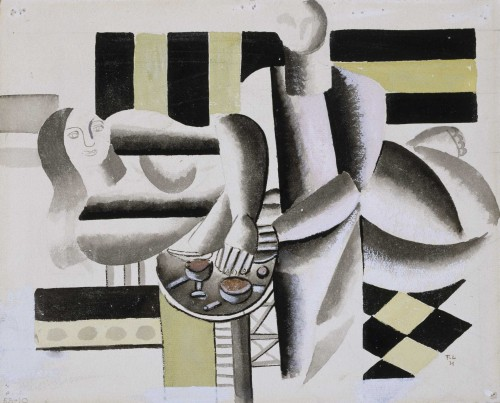 Fernand Léger. Interior, study for The Three Women, 1921. Watercolor on paperboard, 9 7⁄8 × 12 1⁄4 in (25.1 × 31.1 cm). The Museum of Fine Arts, Houston, Gift of Madame Helena Rubinstein. © 2014 Artists Rights Society (ARS), New York / ADAGP, Paris.