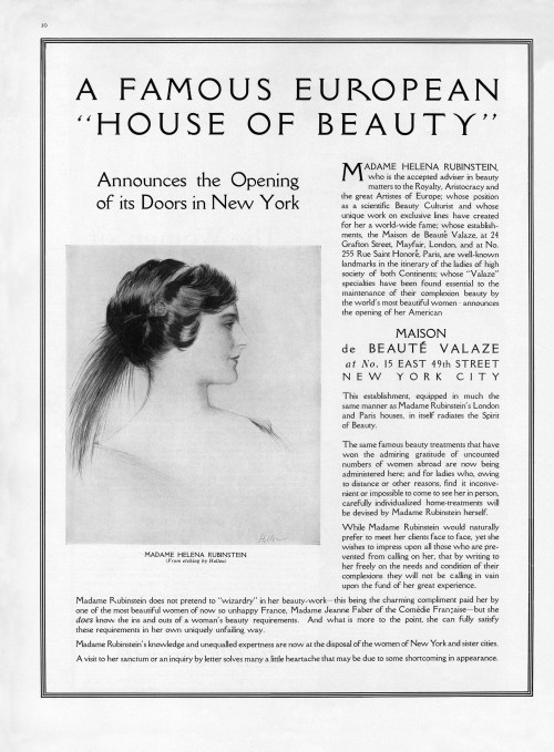 A 1915 Vogue advertisement announcing Rubinstein's inaugural beauty salon in New York. The ad features a portrait of Rubinstein by Paul Cesar Helleu.