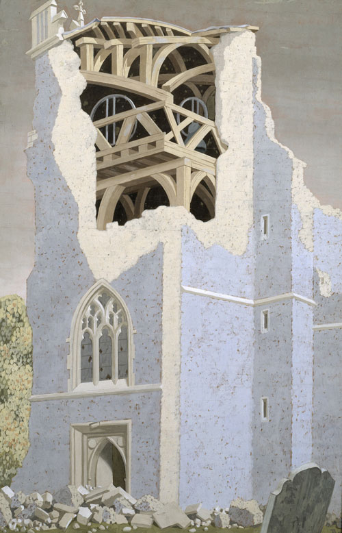 John Armstrong (1893‑1973). Coggeshall Church, Essex, 1940. Tempera on wood. Collection Tate.