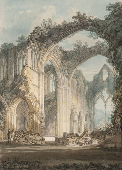Joseph Mallord William Turner (1775‑1851). Tintern Abbey: The Crossing and Chancel, Looking towards the East Window. From Watercolours and Studies Relating to the Welsh and Marches Tours, 1794. Graphite and watercolour on paper, 35.9 x 25 cm. Collection Tate.