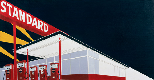 Ed Ruscha. <em>Standard Station</em> 1966. Oil on canvas,  20 1/2  x 39 inches. Courtesy Private Collection © Ed Ruscha 2009. Photography: Paul Ruscha.
