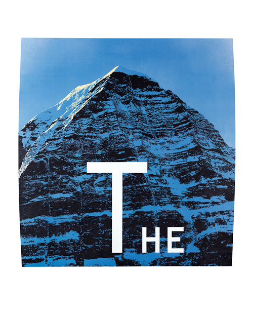 Ed Ruscha. <em>The Mountain</em> 1998. Acrylic on shaped canvas 76 x 72 inches (193 x 183 cm). Courtesy Allison and Warren Kanders. © Ed Ruscha, 2009. Photography: Paul Ruscha.