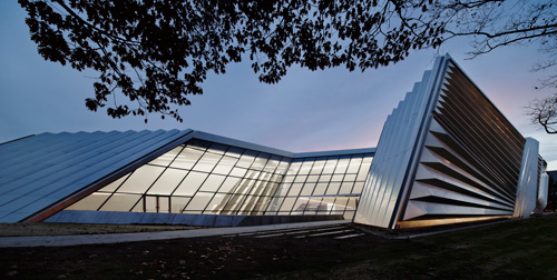The Eli and Edythe Broad Art Museum at Michigan State University, designed by Zaha Hadid. Exterior view (1). Photograph: Paul Warchol.