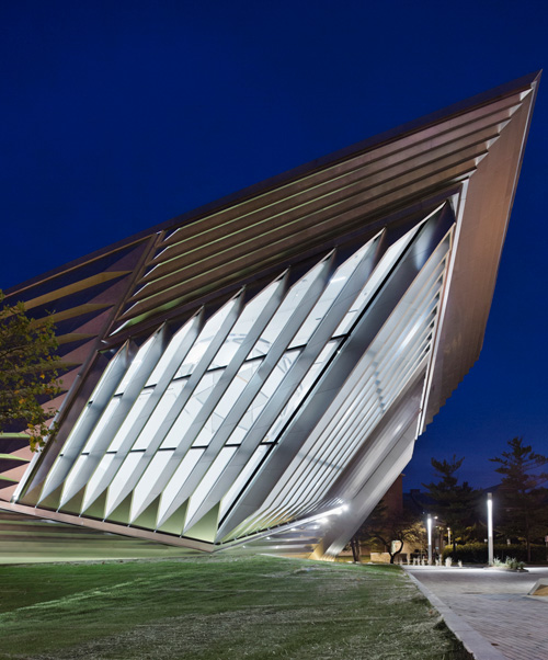 The Eli and Edythe Broad Art Museum at Michigan State University, designed by Zaha Hadid. Exterior view (2). Photograph: Paul Warchol.